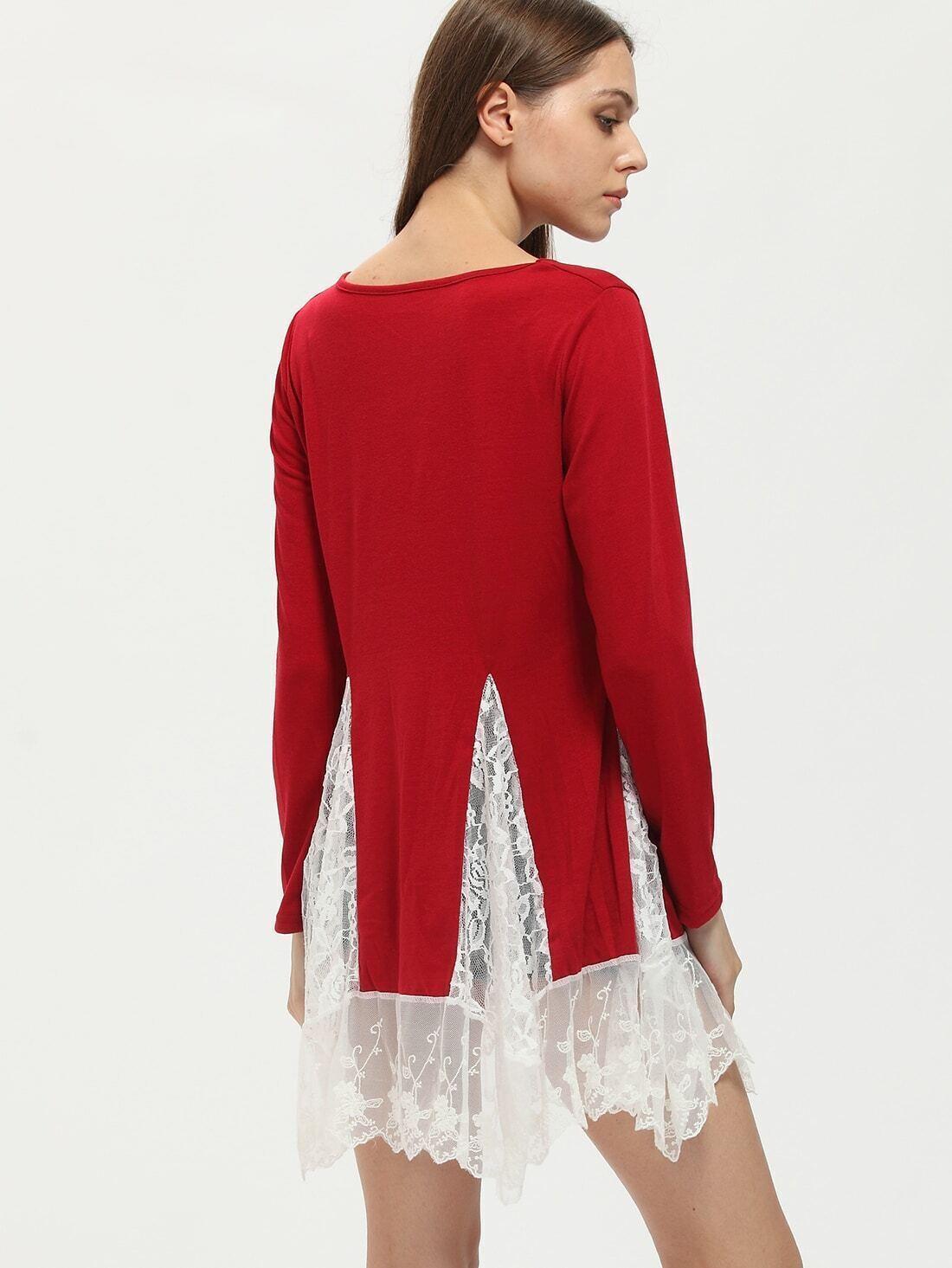 T shirt manches longues avec franges rouge french romwe for Interieur paupiere inferieure rouge