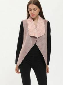 Purple Sleeveless Lapel Asymmetric Coat