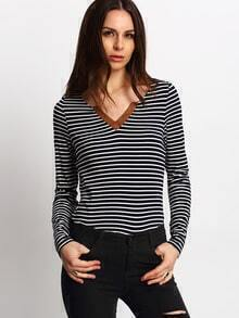 Blue Striped Loose T-Shirt
