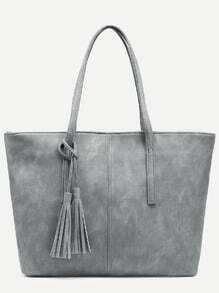 Grey Distressed Tassel Trim Tote Bag