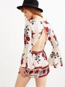 Bell Sleeve Florals Open Back Crop Top With Shorts