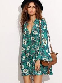 Green Tie Neck Floral Print Bell Sleeve Dress
