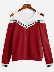 Red Striped Contrast Open Shoulder Sweatshirt