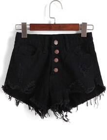 Single-breasted Ripped Fringe Denim Black Shorts