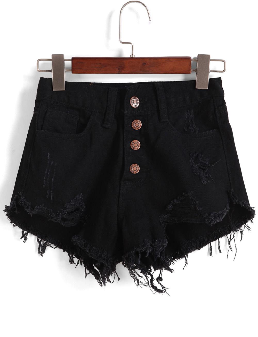 Single-breasted Ripped Fringe Denim Black Shorts
