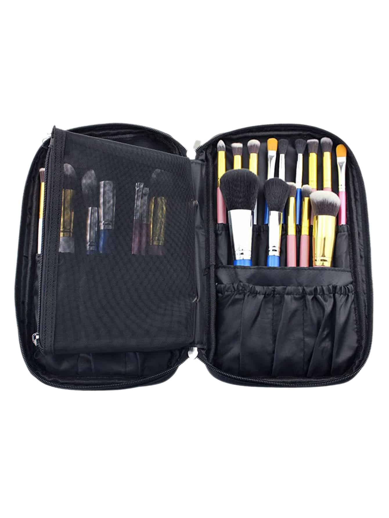 Black Zipper Makeup Bag With Small Mesh Bag