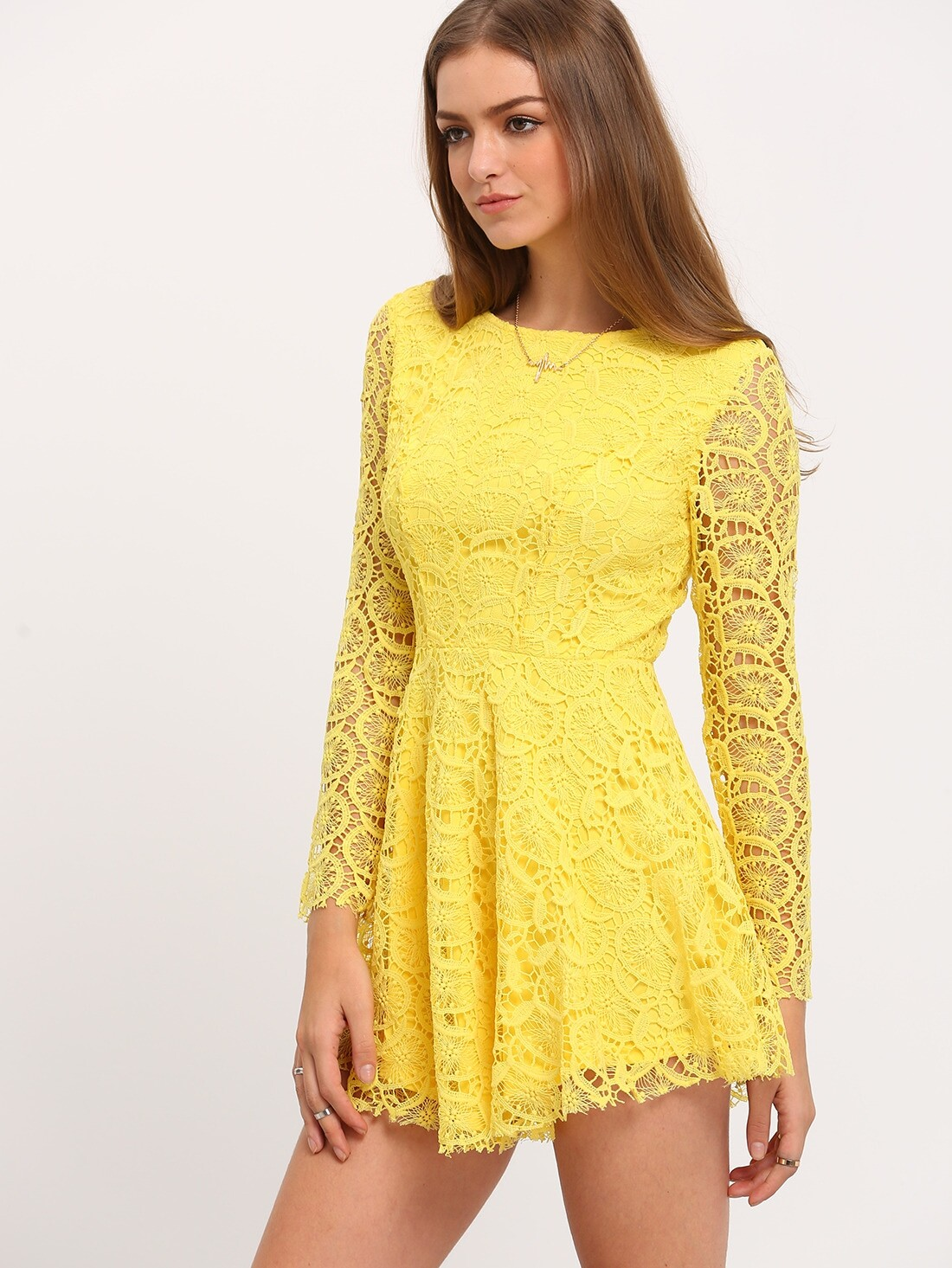 Yellow Long Sleeve Crochet Lace Dressfor Women Romwe