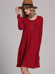 Burgundy Long Sleeve Casual Babydoll Dress