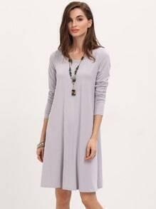 Robe décontracté manches longues -violet métallisé