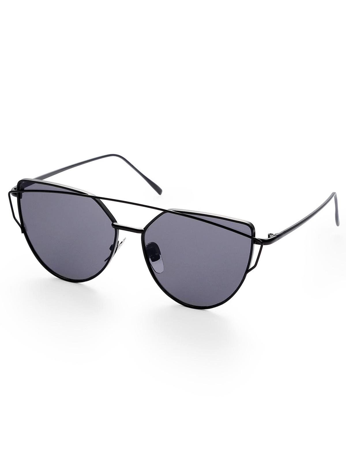 黑色 鏡片 貓眼 金屬 框 太陽眼鏡