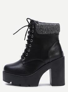Black PU Lace Up Platform Short Boots