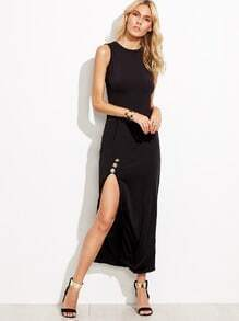 Black Sleeveless Split Buttons Dress