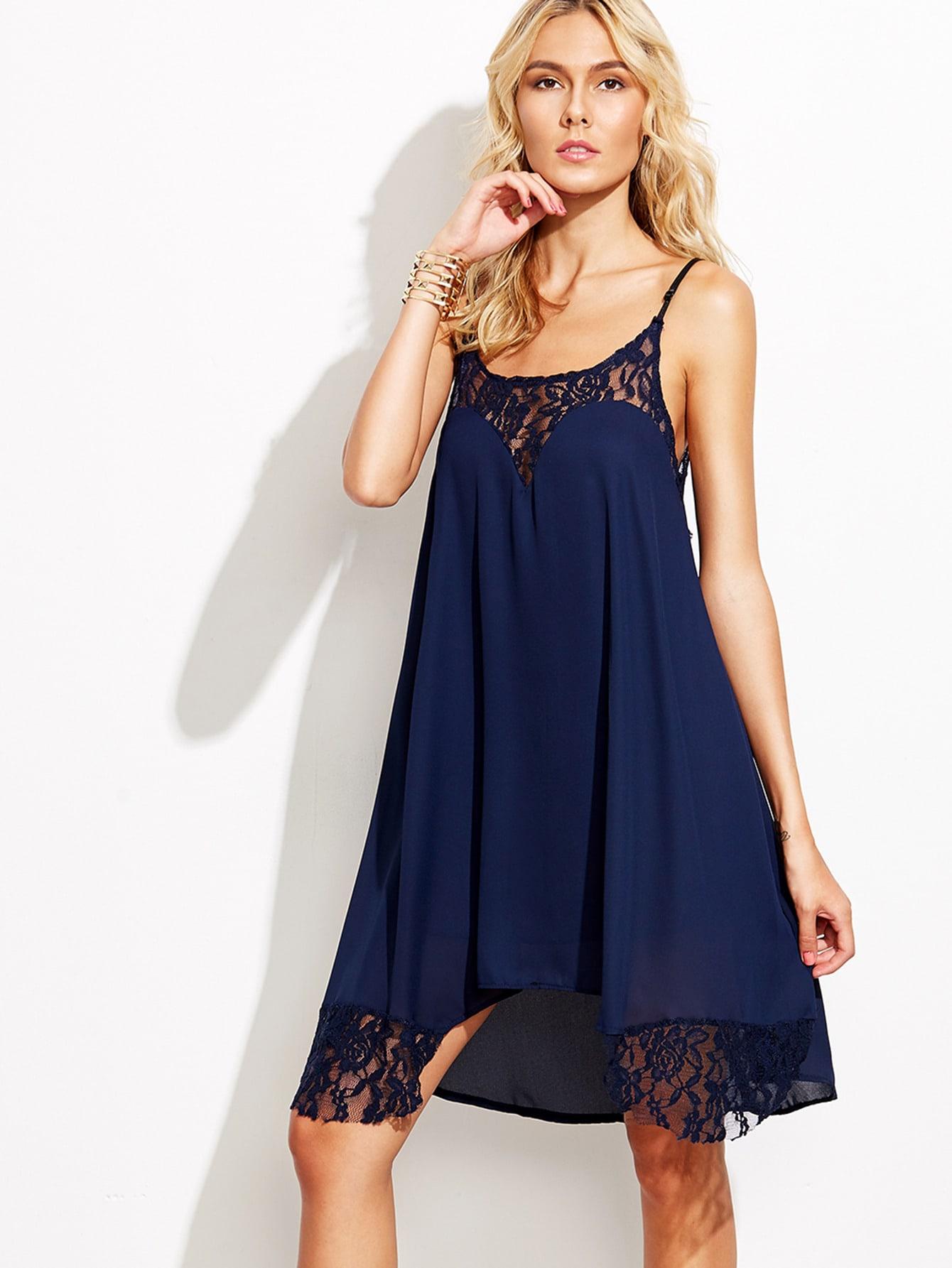 Lace Trimmed Chiffon Cami Dress