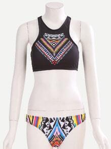 Halter Tribal Print Top With Plain Color Bikini Bottom