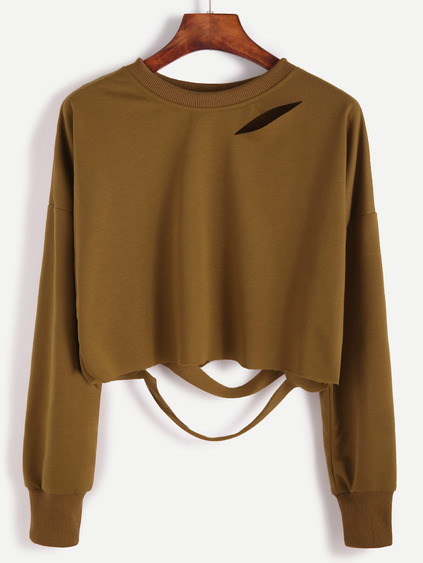 Cut-Outs kurzes T-shirt Drop Shulter-khaki