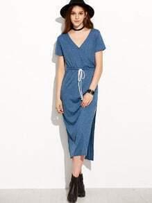 Surplice Front Drawstring Waist Maxi Dress