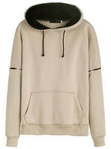 Cut Out Hooded Sweatshirt With Pocket