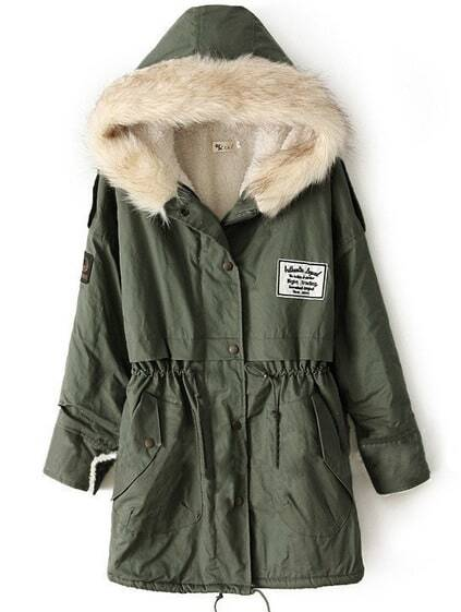 Zipper Embellished Fleece Inside Military Army Green Coat