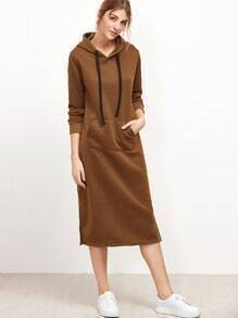 Khaki Drawstring Hooded Pocket Split Side Sweatshirt Dress