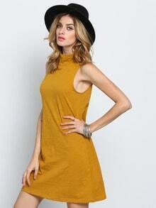Khaki Sleeveless Casual Dress