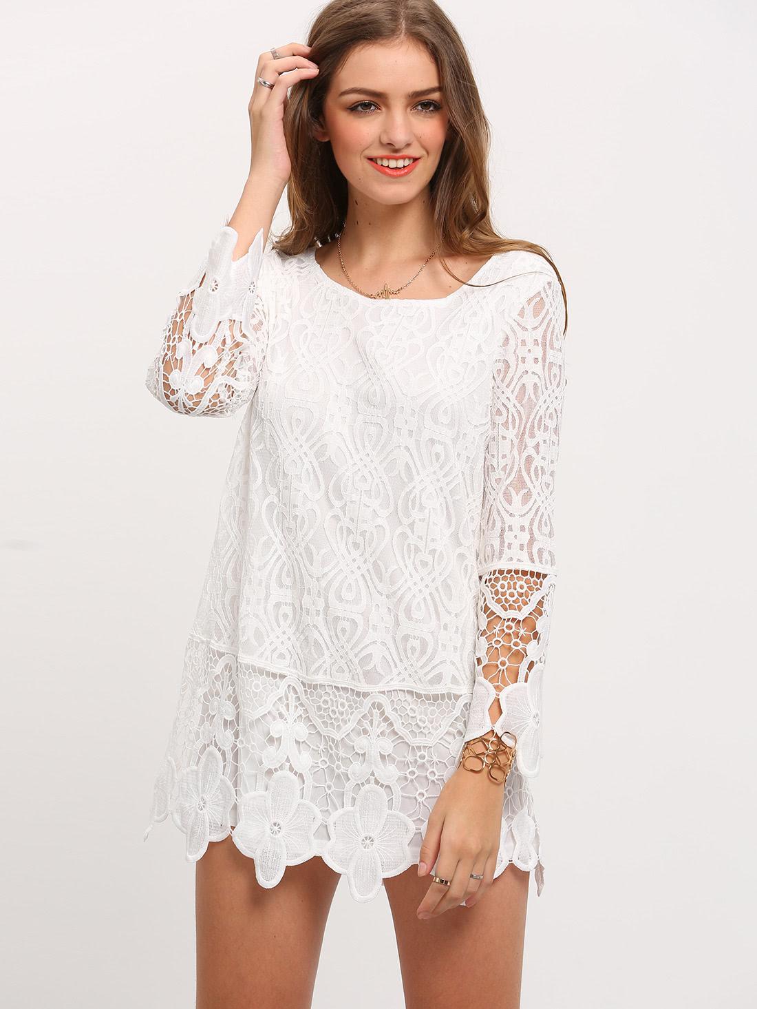 Wedding White Long Sleeve Dress white long sleeve crochet lace dress