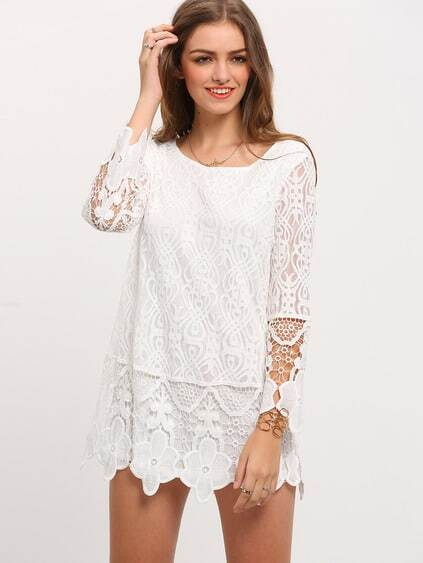 robe dentelle manches longues -blanc