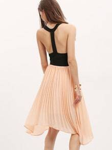 Pink Black Sleeveless Cut Out Asymmetric Dress