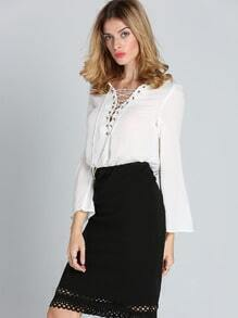 White Long Sleeve Lace Up Blouse
