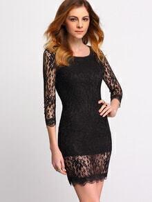 Sheer Lace Bodycon Black Dress