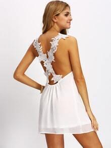 White Lace Criss Cross Back Mini Dress