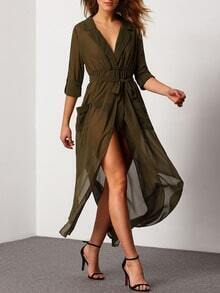 Chiffon Bluse mit tiefem V-Ausschnitt und Taschen - grün