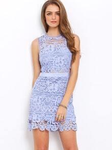 Blue Side Hollow Lace A-Line Dress