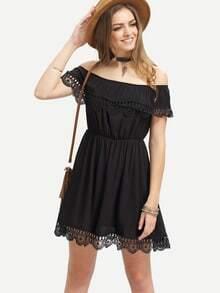 Vestido Casual encaje hombro al aire-negro
