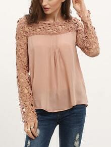 Hollow Lace Chiffon Blouse