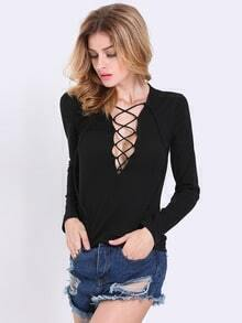 Black Long Sleeve Lace Up Blouse