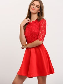 Red Half Sleeve Backless Scallop With Lace FLare Dress