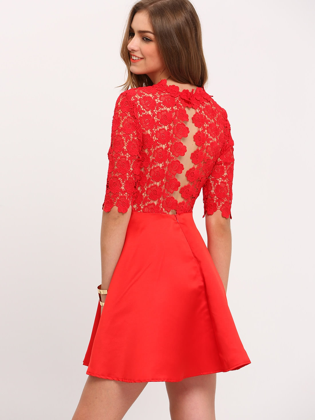 robe avec dentelle manches mi longue rouge french romwe. Black Bedroom Furniture Sets. Home Design Ideas