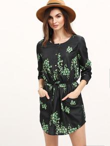 Vestido manga larga flores bolsillos -verde oscuro