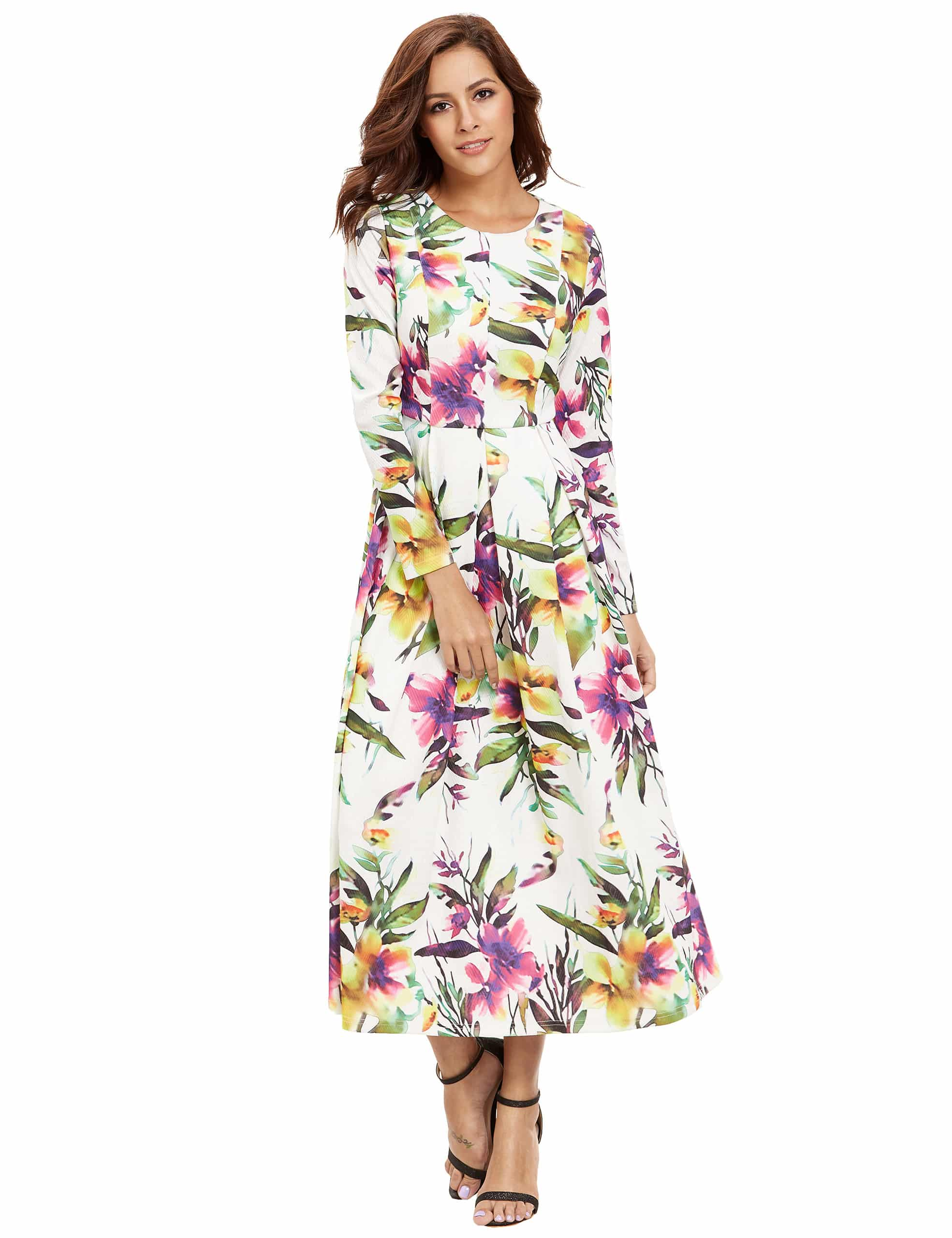 White Long Sleeve Floral Dress cd0672493