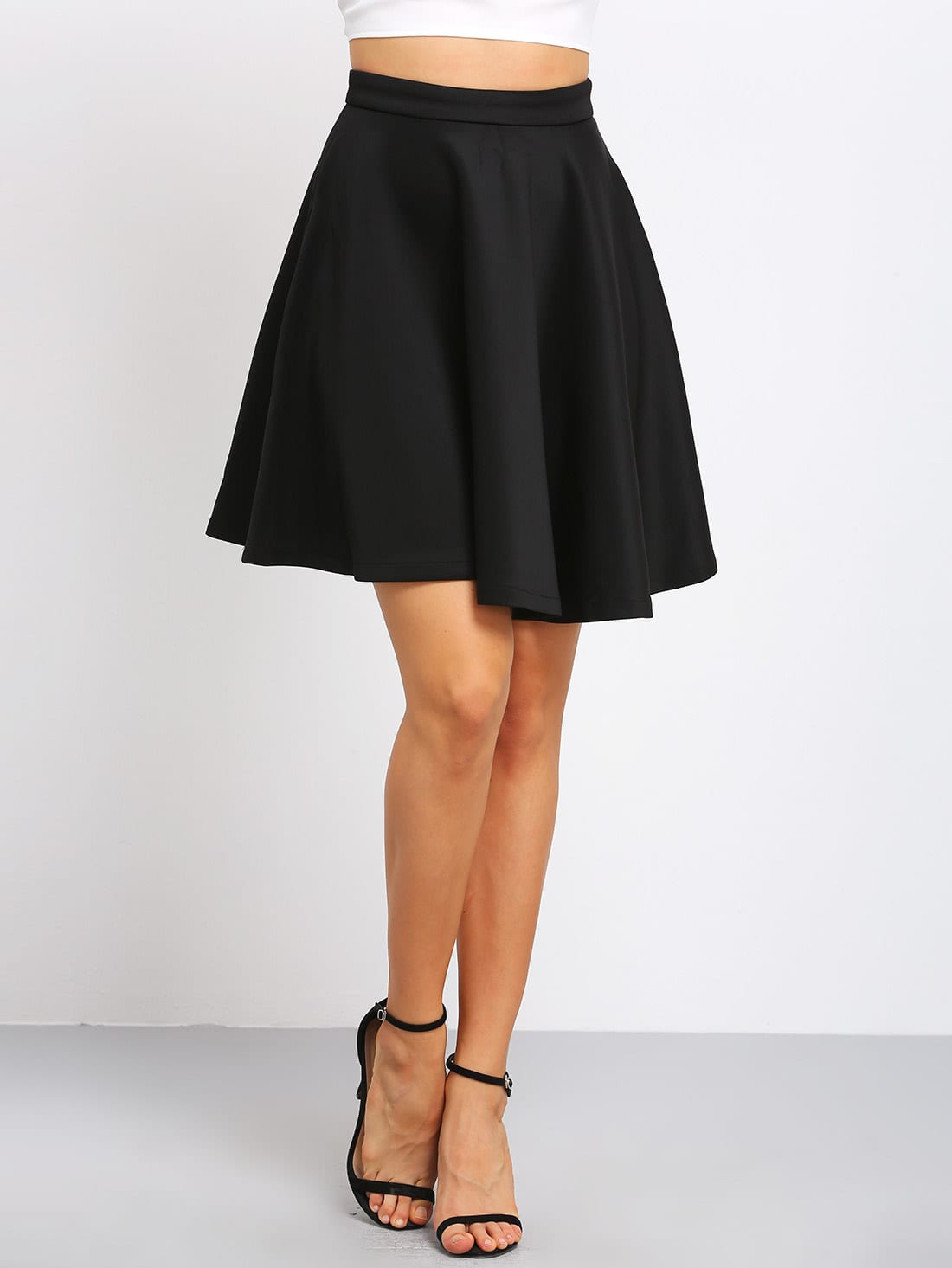 Black High Waist Flare Skirt