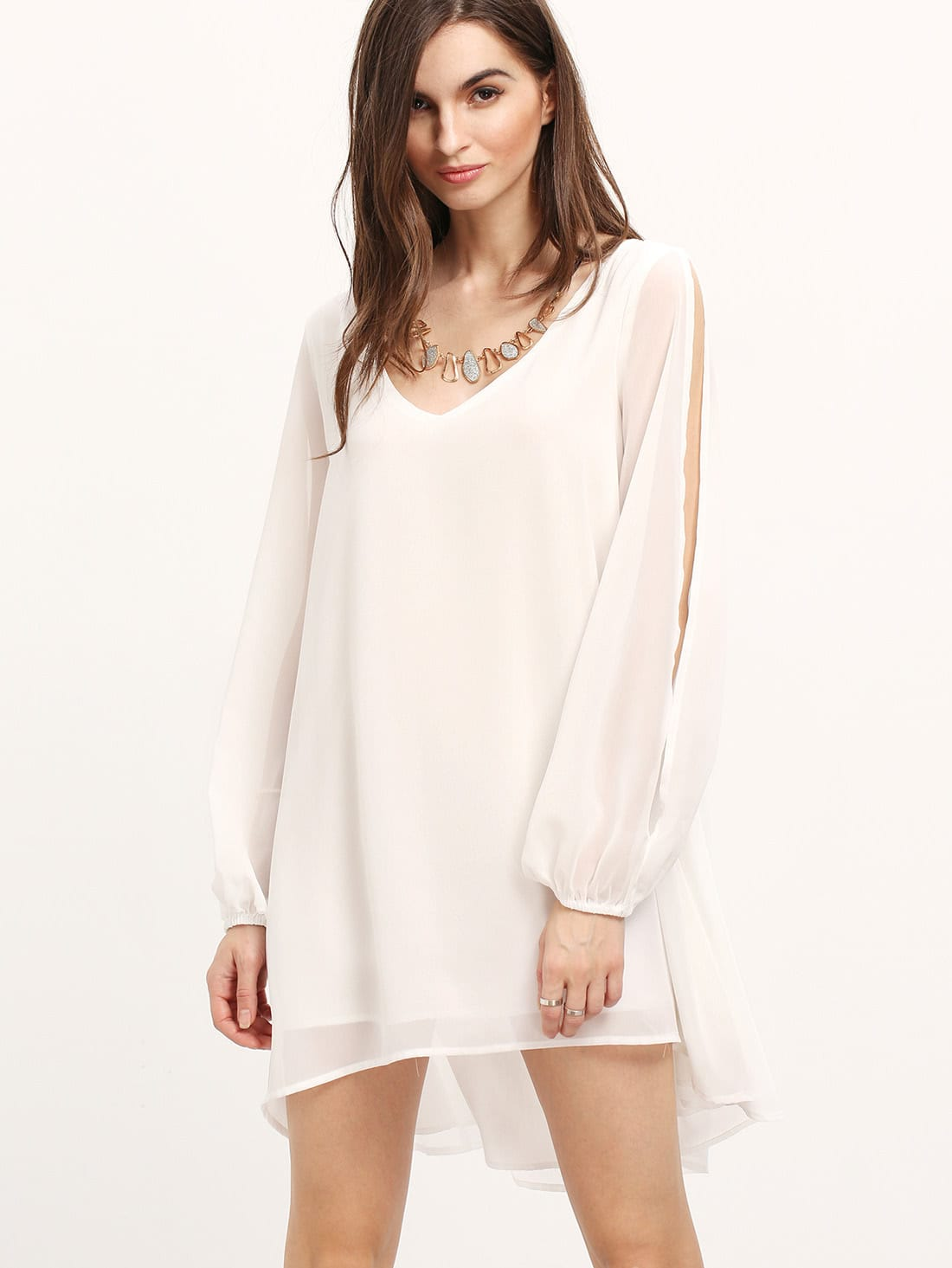 V Neck Split Sleeve Chiffon White Dress