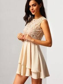 With Zipper Lace Insert Flare Apricot Dress
