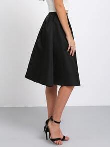jupe mi-longue plissé -Noir