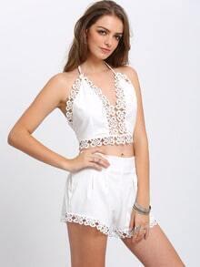 White Halter V Neck Top With Floral Crochet Shorts