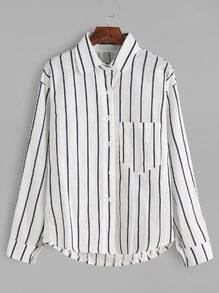 White Vertical Striped Pocket Shirt