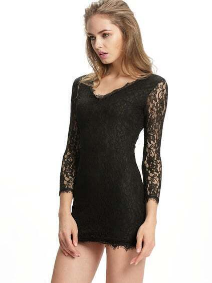 V Neck Embroidered Bodycon Lace Dress