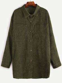 Dropped Shoulder Seam Corduroy Pockets Long Shirt