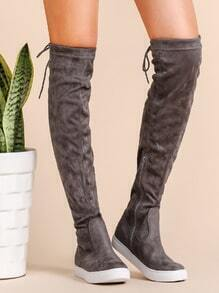 Buy Grey Round Toe Tie Back Knee Boots