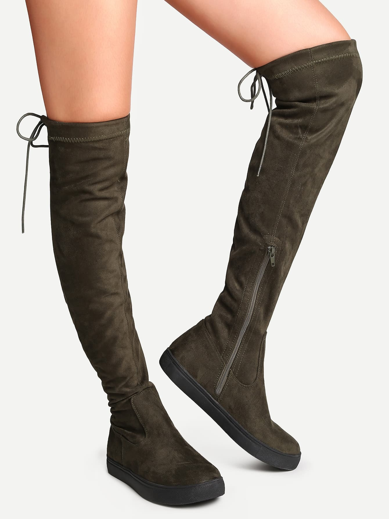 Army Green Round Toe Tie Back Knee Boots