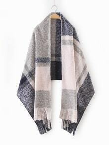 Light Color Plaid Long Fringe Shawl Scarf